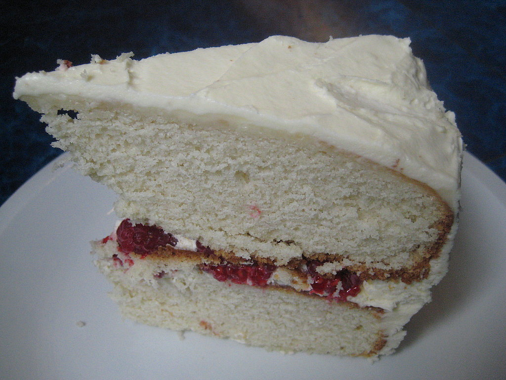 White Cake with Raspberries