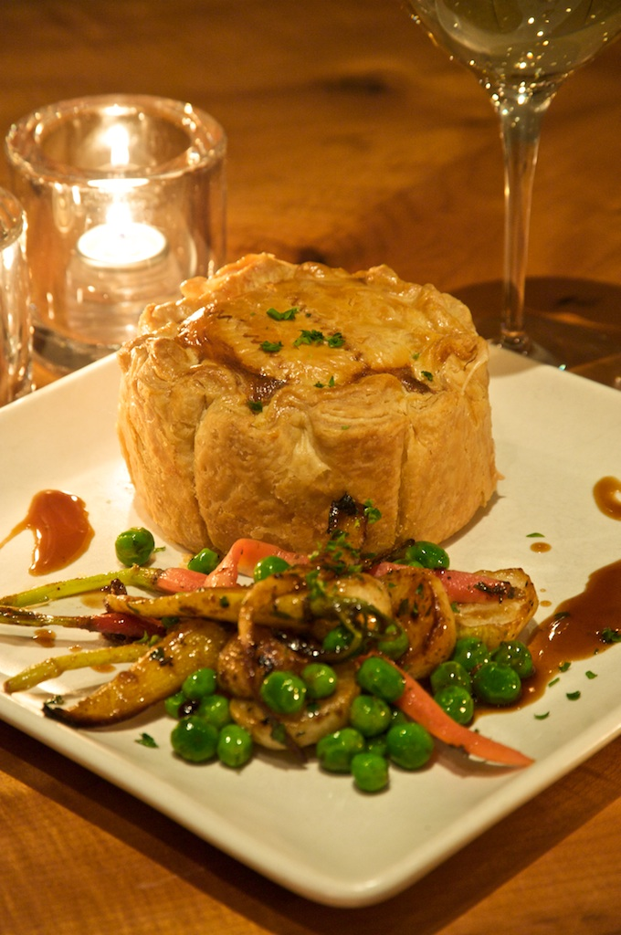 Rabbit pot pie, roasted market vegetables, rabbit demi