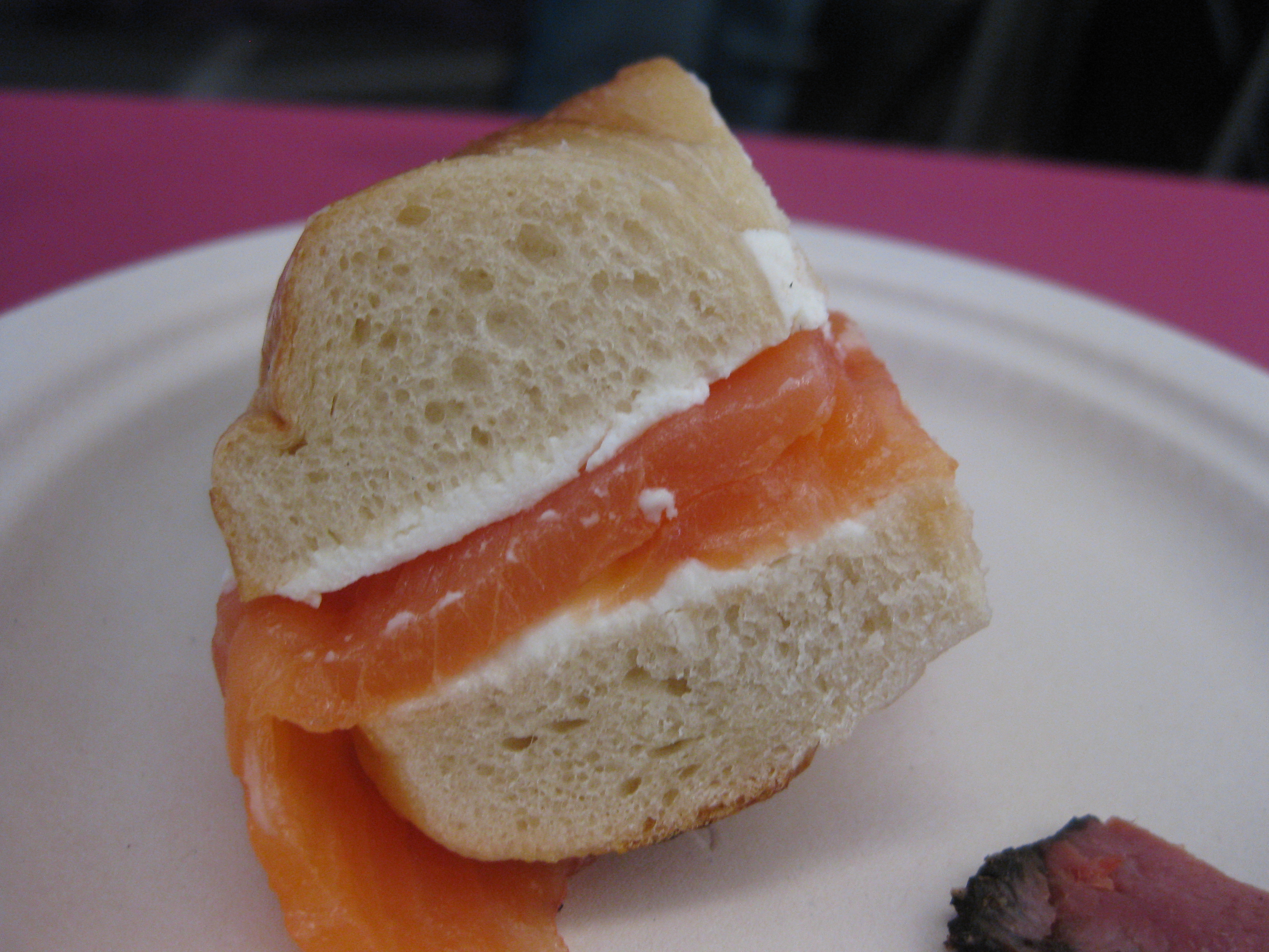 Wesson paired Barney Greengrass' smoked salmon on a bagel with a Riesling from Oregon.