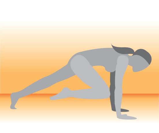 Straight Arm Plank With Knee Pulled Into Chest
