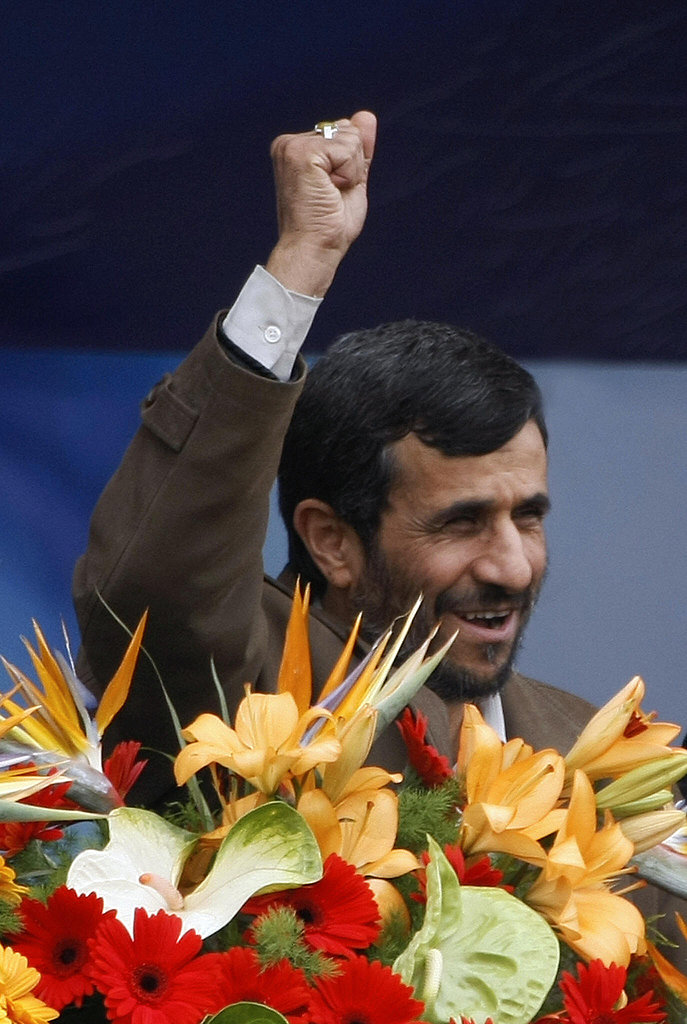 President Mahmoud Ahmadinejad gestures as he addresses the crowd.