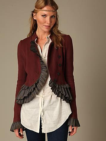 Free People Clothing Boutique &gt; Military Ruffle Jacket