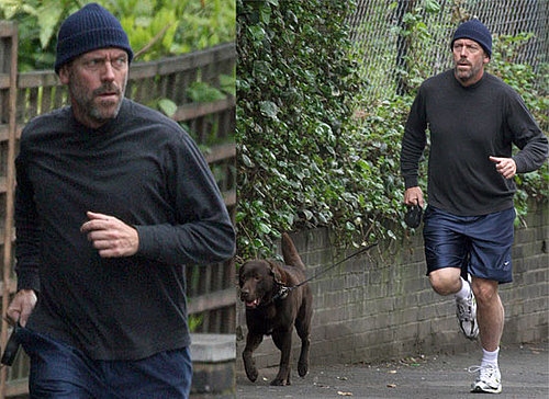 Photos Of House Star Hugh Laurie Out Running With His Pet Dog In London, UK