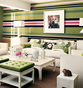 A hot pink stripe sends the preppiness of this striped wall at Mary McDonald's home into fifth gear. Try your own racing stripe on a wall in your home. Source