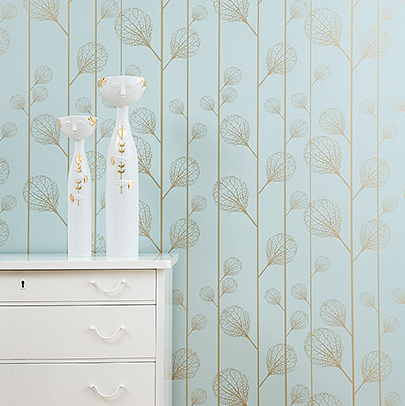 Ferm Living's Ribbed Wallpaper (see website for buying information) adds a whimsical touch to any bedroom.