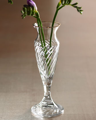 The Waterford Crystal Arrington Bud Vase ($150) has a feminine shape and similar diagonal folds.