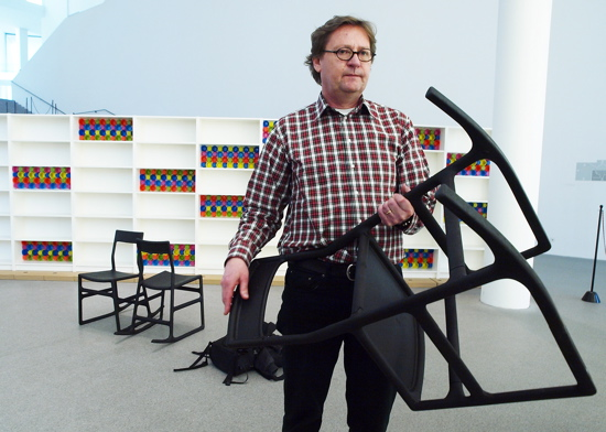 Lars Dafnas, head of the design management of Ikea, poses with a PS Ellan chair.