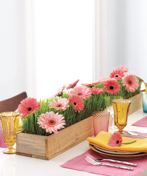 Real Simple instructs you on creating a floral table runner for a wedding or Spring party.