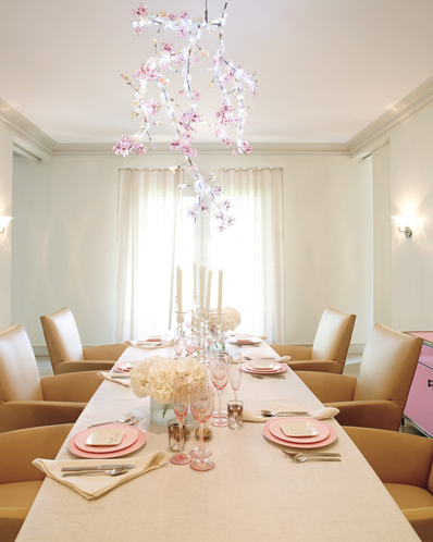 This dining room in Gwyneth Paltrow's feminine Hamptons home is breath-taking. The Tord Boontje chandelier, to begin with, is a masterpiece. Beyond that, the room is absolutely chic in every way. Its cool palette wouldn't work as well in the city, but seeing as it's steps from the beach, it's flawless. Source
