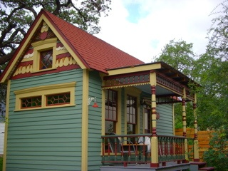 Here's an exterior view of the Vicky House, displaying all of the charm of a Victorian home, but in a compact package.