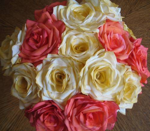 While this bouquet looks like it's composed of roses, the roses were actually crafted from dyed coffee filters! Source