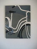 This bicycle painting by Vermont artist Judy Minadeo was my favorite piece featured in the home.