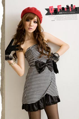 Retro Princess . Strapless Satin Bow Houndstooth Dress