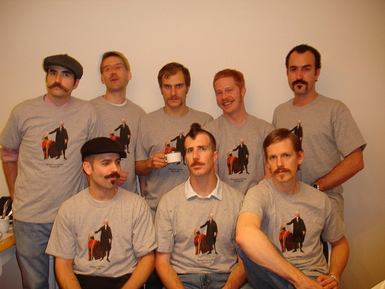 The mustaches.
