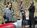 Angelina Snacks on the Set of St. John