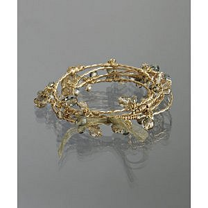 Nicole Bluefly - Lee Angel gold crystal cluster bangle set