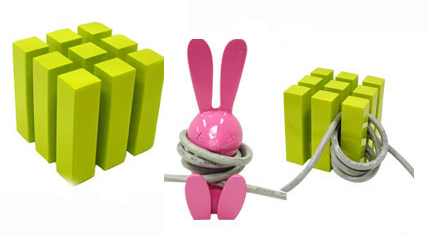Adorable Bunny and Lime Green Cube Cord Organizers