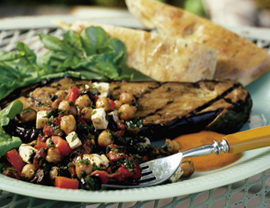 Sunday Dinner: Eggplant Steak with Chickpeas and Roasted Red Peppers