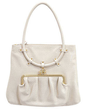 Golden Bleu Large Satchel with Ring Handle