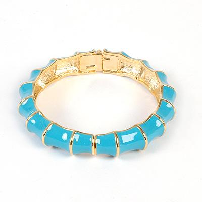 Gold Bamboo bangle in turquoise