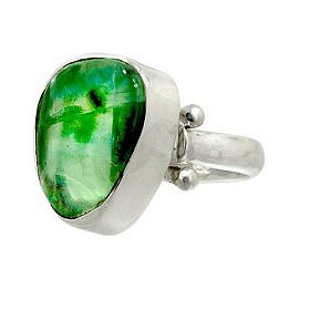 $49.00:  Sterling Silver Free-Form Green Flourite Adjustable Ring by Sajen: Jewelry & Watches
