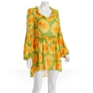 TROPICAL PRINT:  Karen Zambos Vintage Couture orange floral chiffon tunic dress