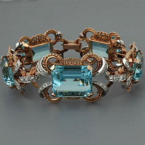 Vintage Retro Aquamarine Bracelets