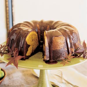 Cozy up with a slice of Chocolate-Pumpkin Marble Cake!