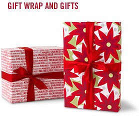 Poinsettia/(RED) Words Reversible Roll Wrap