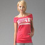 Juicy Couture Off the Shoulder Kangaroo Pocket Top