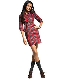 Mimi Chica Plaid Shirt Dress