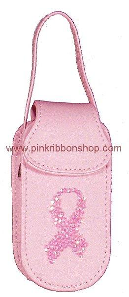 Cell Phone Accessories - Pink Ribbon Sequined Cell Phone Case
