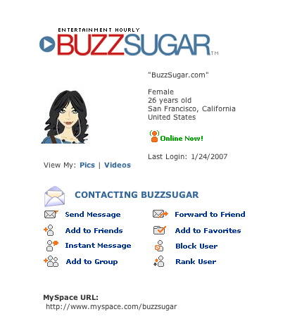 BuzzSugar on MySpace: Be My Friend!