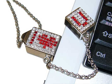 Totally Geeky or Geek Chic? Swarovski Rhinestone USB Drive Necklace