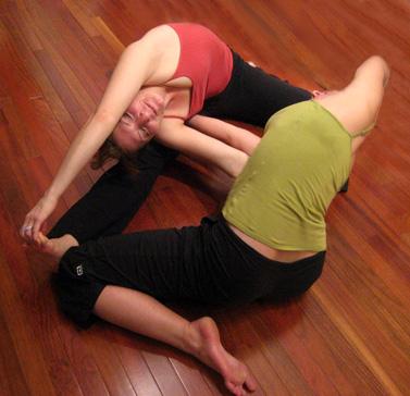 partner yoga pose double gate  popsugar fitness
