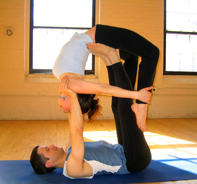 partner yoga pose flying bow  popsugar fitness